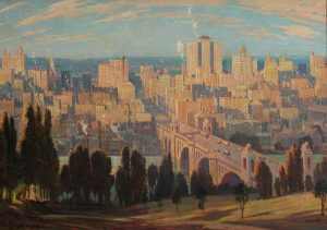 Oil painting overlooking city at sunrise with bridge and river between city and treed green space below viewpoint.