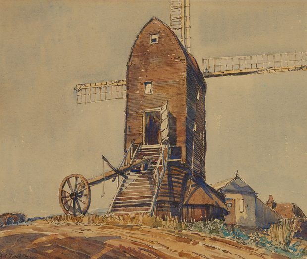 Watercolour painting of an English windmill on a hill.