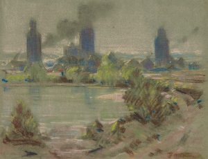 Pastel drawing with small lake in the foreground and an industrial town with grain elevators in the background.