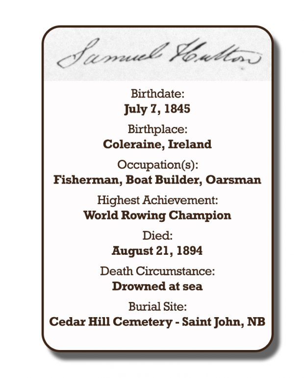 Image of an infographic with details pertaining to Samuel Hutton. From top to bottom the information includes: his signature and his birthplace which was Coleraine, Ireland on July 7, 1845. Followed by his occupation with was Fishman, Oarsman, and Boat-builder. His highest achievement which was World Rowing Champion. The date of his death is August 21, 1894 and the circumstances of his death was drowned at sea. His burial site is Cedar Hill Cemetery in Saint John, New Brunswick.