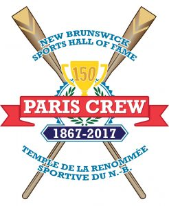 Commemorative 150th anniversary logo of the Paris Crew created and used by the New Brunswick Sports Hall of Fame. The colours and style used are similar to the New Brunswick Sports Hall logo, which was used for promotional purposes. The image is of two rowing oars positioned in the shape of an ex. Placed overtop is a crest with yellow trophy with 150 engraved on the front. There is a red ribbon on either side of the trophy with Paris Crew written on it and 1867 to 2017 on a blue pennant below. The bilingual name for the New Brunswick Sports Hall of Fame encircles the crest.