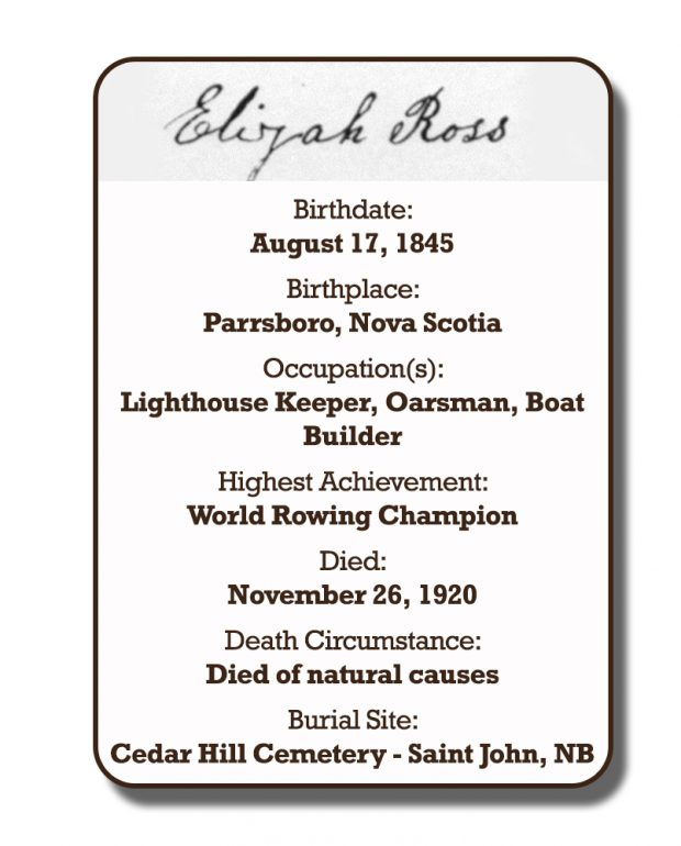 Image of an infographic with details pertaining to Elijah Ross. From top to bottom the information includes: his signature and his birthplace which was Parrsboro, Nova Scotia on August 17, 1845. Followed by his occupation with was Lighthouse Keeper, Oarsman, and Boat Builder. His highest achievement which was World Rowing Champion. The date of his death is November 26, 1920 and the circumstances of his death was natural causes. His burial site is Cedar Hill Cemetery in Saint John, New Brunswick.