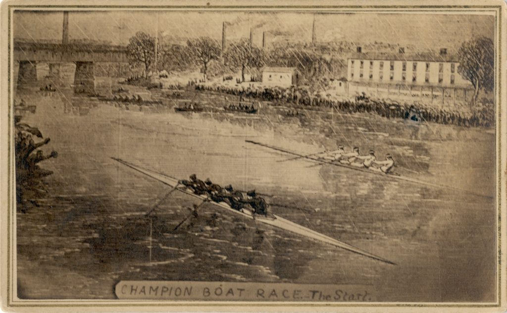 An artist sketch of the rowing crew from Saint John, New Brunswick during one of their races at the International Rowing Regatta in Paris, France. In the foreground their competitors are dressed in black and the Saint John crew is in white. Since the race took place in Paris, there are a number of buildings along the shore line, presumably used for water-based industry, and a bridge passing over the river. Along the bottom of the sketch is a banner that reads