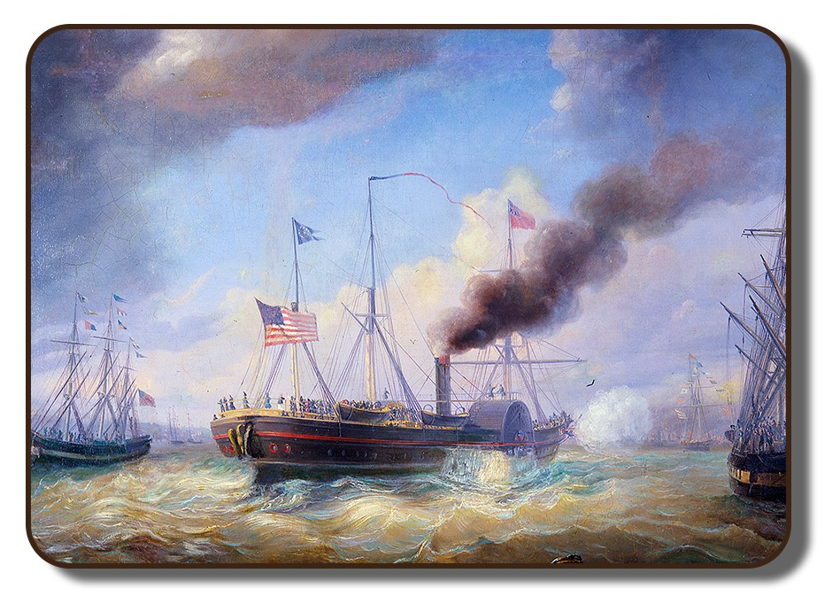 Image of colorized painting of the steamer ship