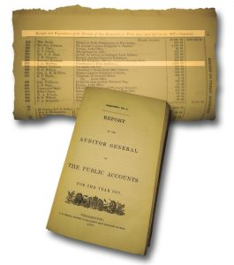 An image of a book titled Report of the Auditor General on The Public Accounts for the year 1867. A secondary image depicts that same book opened and highlights a particular entry in relation to the Paris Crew. Item number 305 in the ledger shows a $2,500 financial contribution was made to Sherriff J. A. Harding for entry into the exhibition in Paris.
