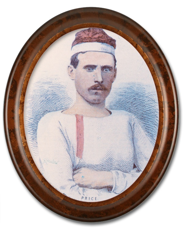 Image of a colourized sketched portrait of George Price, a team member of the Paris Crew. There is a high gloss oval wooden frame around the portrait. Price is wearing a white long-sleeve shirt, with red buttons and is also wearing their signature rowing cap.