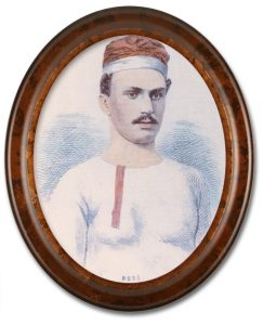 Image of a colourized sketched portrait of Elijah Ross, a team member of the Paris Crew. There is a high gloss oval wooden frame around the portrait. Ross is wearing a white long-sleeve shirt, with red buttons and is also wearing their signature rowing cap.