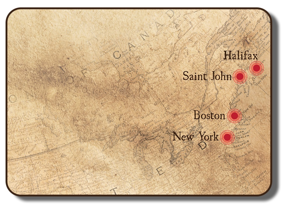 Image of an antique map of the eastern seaboard of North America, including as far north as Nova Scotia and as far south as Virginia. Four key port cities are identified including Halifax Nova Scotia, Saint John New Brunswick, Boston Massachusetts and New York City.