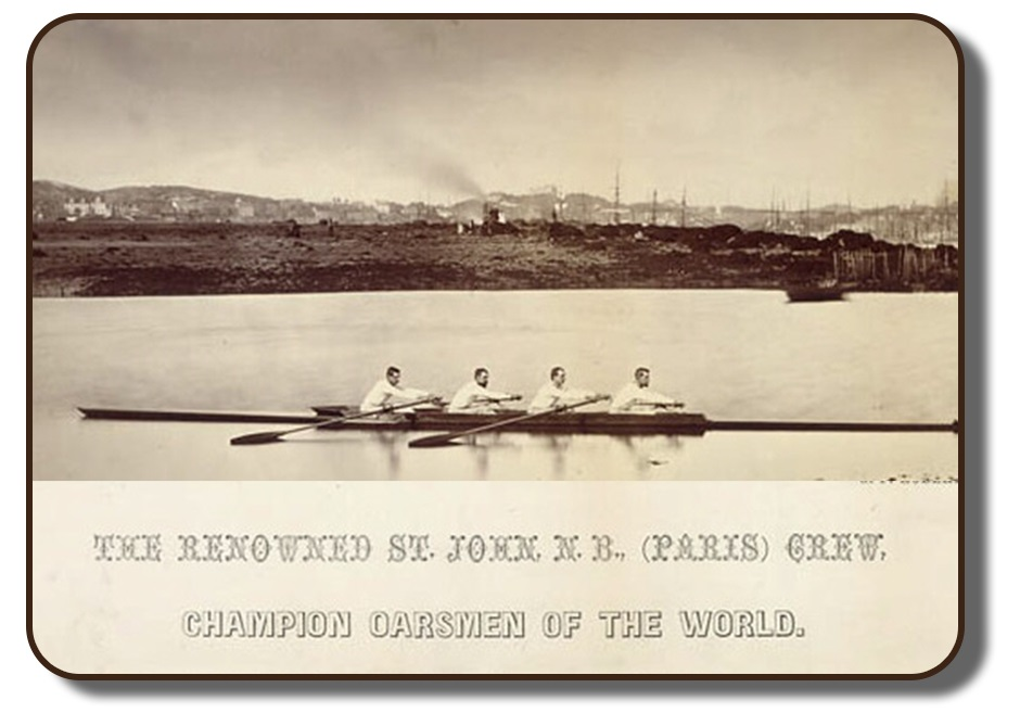 Image of the Paris Crew team members rowing together on a body of water. This sepia tone photograph shows team together in Saint John, New Brunswick following their win at the International Rowing Regatta in Paris, France. Behind them on the shore line shows a riverbank with scattered trees and houses. Under the photo shows a caption with reads The Renowned St. John, New Brunswick, Paris Crew, Champion Oarsmen of the world.