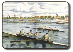Image of a coloured painting depictting the Paris Crew, also known as the Carleton Crew prior to their winning at the International Rowing Regatta in Paris France in 1867, competing against the Tyne Crew. Both four-person rowing sculls are racing on a body of water with many spectators in the background. The Paris Crew is depicted in white shirts and red pants, while the Tyne Crew is wearing yellow shirts and blue rowing caps and matching pants. Along the banks are various buildings and another vessel is also docked with other spectators on the deck and the British flag is on its mast.
