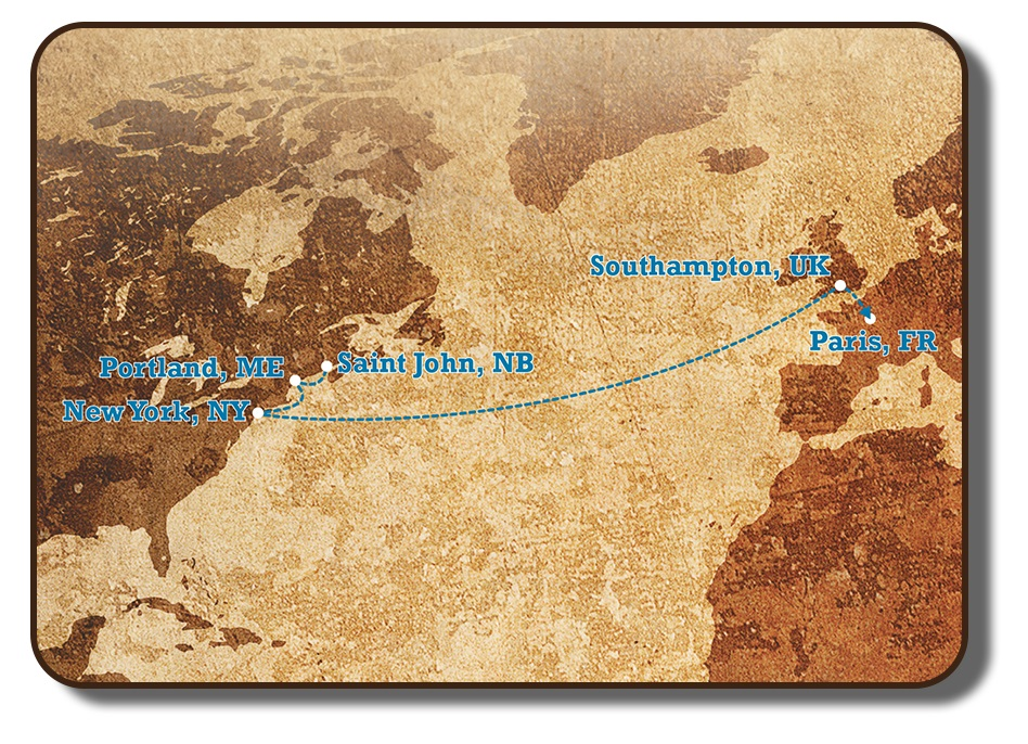 An image of an early map of the Atlantic Ocean with eastern North America on the left and western Europe and north-eastern Africa on the right. The destination ports that the Paris Crew would have visited on their Transatlantic journey from Saint John New Brunswick to Paris France are identified, with a dotted line connecting each of the cities.
