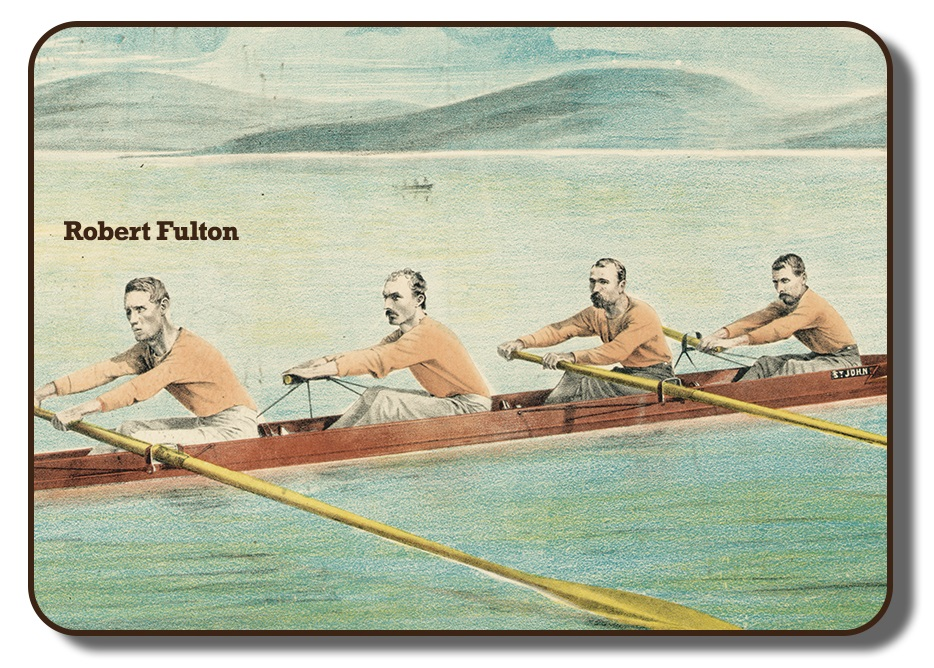 Image of a colourized sketch with the team members of the Paris Crew rowing together in their rowing scull on a body of water with faded hills in the background. This image has Robert Fulton's name added into the photo signifying him from the others in the image, and showing him in the fourth position of the four. The men are wearing their signature flesh coloured long sleeve shirts and grey pants.