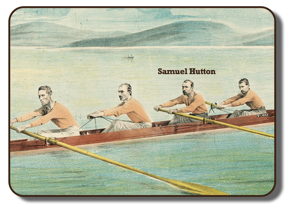 Image of a colourized sketch with the team members of the Paris Crew rowing together in their rowing scull on a body of water with faded hills in the background. This image has Samuel Hutton's name added into the photo signifying him from the others in the image, and showing him in the second position of the four. The men are wearing their signature flesh coloured long sleeve shirts and grey pants.