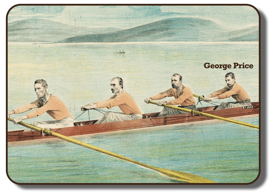 Image of a colourized sketch with the team members of the Paris Crew rowing together in their rowing scull on a body of water with faded hills in the background. This image has George Price's name added into the photo signifying him from the others in the image, and showing him in the first position of the four. The men are wearing their signature flesh coloured long sleeve shirts and grey pants.