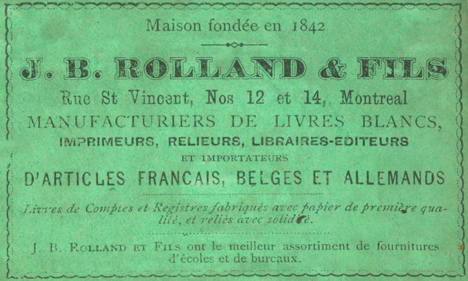 Image of a green-coloured rectangular label, with information including the bookshop's address and goods available for sale.