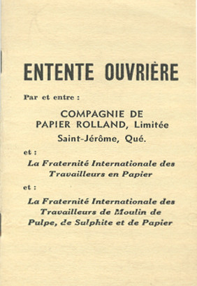 Cover page of a collective agreement, listing the names of the parties.