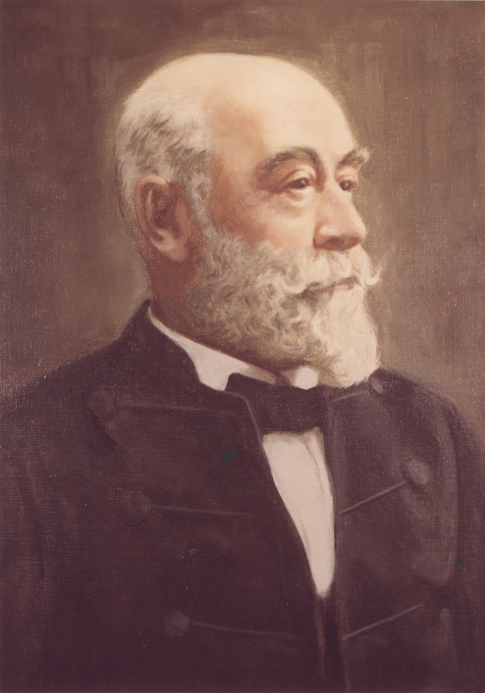 Colour painting of an older man with a white beard. He wears a white shirt with a bow tie and a black jacket over it.