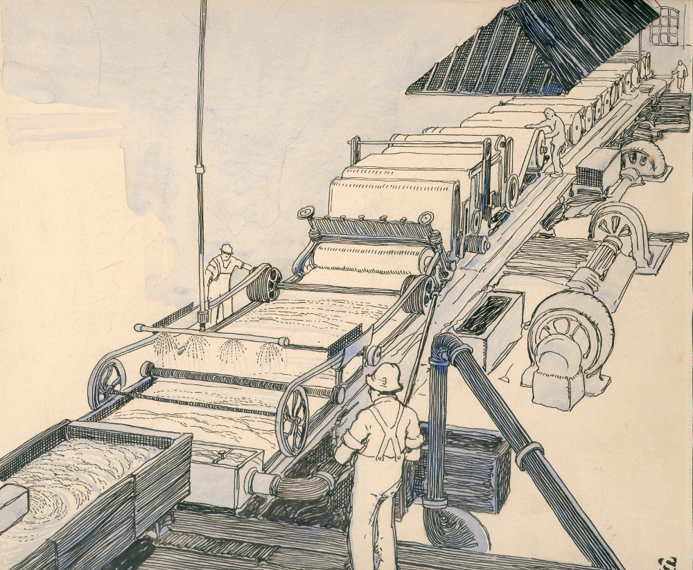 Drawing of a paper-making machine, showing workers on either side of it, along with its various sections.
