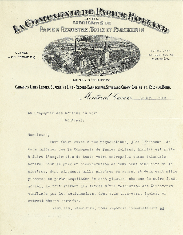 Typewritten letter on slightly yellowed paper. The name of the Compagnie Rolland Limitée appears at the top along with the address of its head office, an image of the plant, and the date of the letter. Below is the content of the letter.