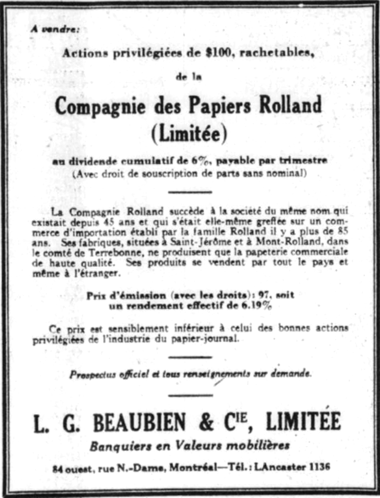 Advertisement for the sale of shares, including information about the price and interest rates, and a brief history of the company.