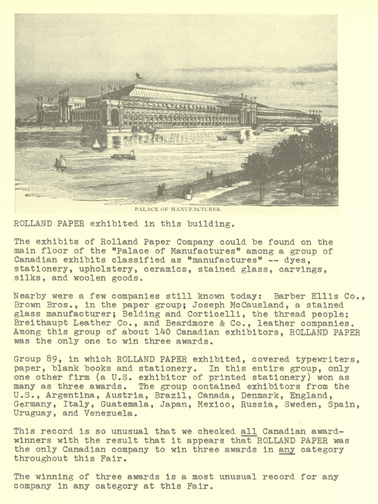 Letter in English on yellowed paper illustrating an imposing building, below which is information about the company's participation in the fair.