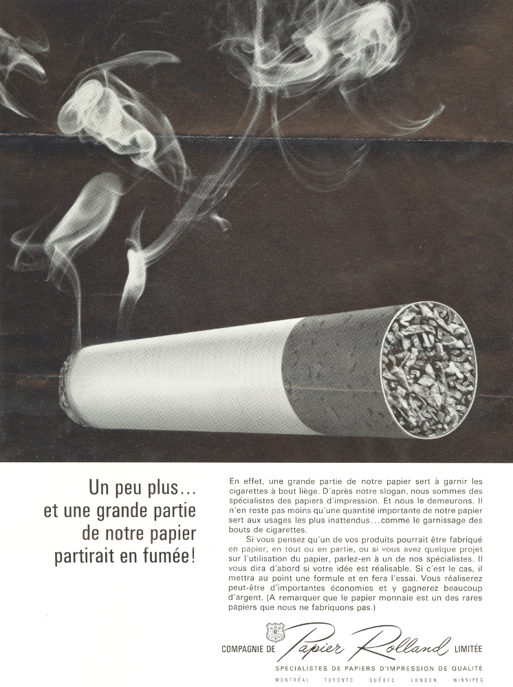 Black & white poster showing a lit cigarette, with text providing information on the company's products.