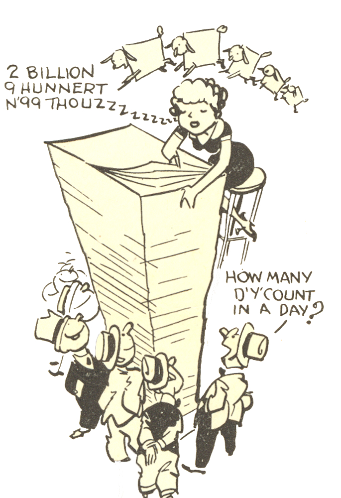 Black & white illustration showing a woman counting a large stack of paper, below which men watch her work.
