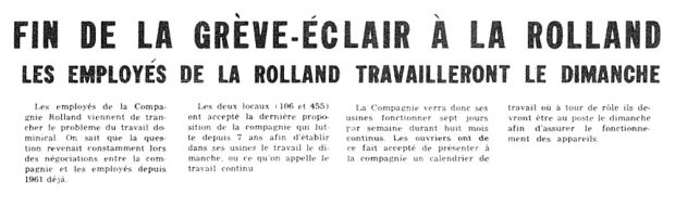 """Newspaper headline in large print: """"Lightning strike ends at La Rolland. Employees to work Sundays."""" Paragraphs of the article follow."""