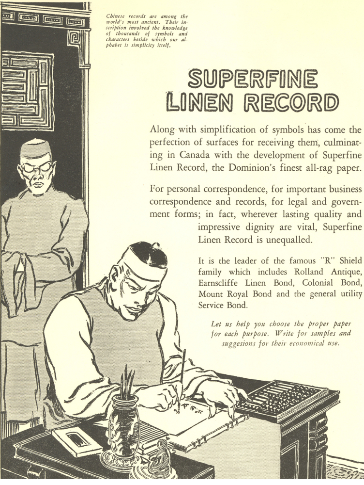 Advertisement in English depicting a man writing Chinese characters on paper.