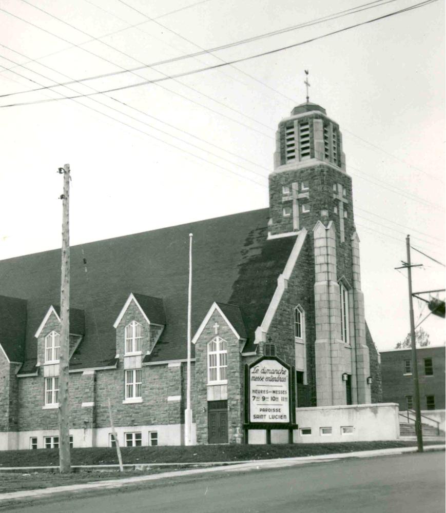 Black & white photograph of a church.