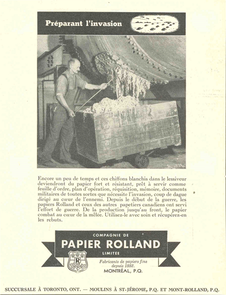Advertisement depicting a man emptying a rag tank. The text and company logo appear below the illustration.