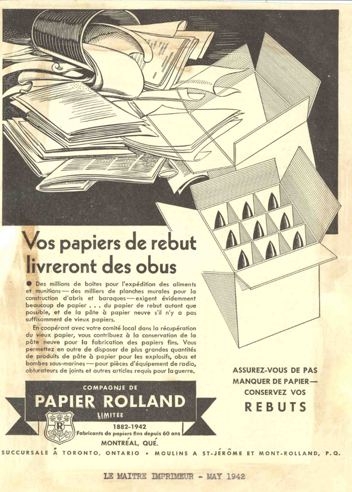Advertisement showing used paper and a case of shells; the copy explains the importance of recycling paper in wartime.