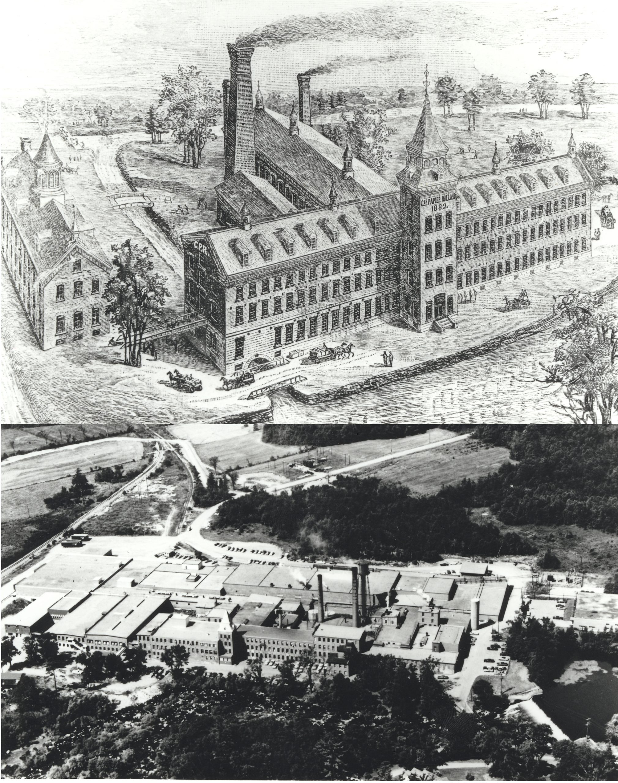 Black & white montage of an engraving and aerial photograph depicting the plant and its various buildings.
