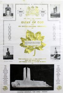 A poster with 5 photographs, ornaments and a golden maple leaf in centre. There is a printed capsule superposed on the maple leaf in centre.