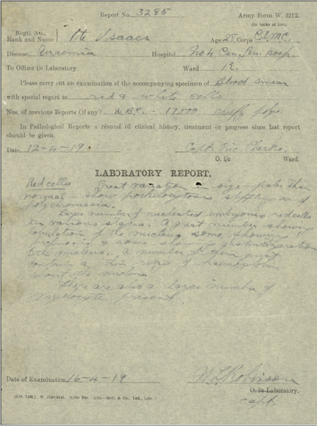 A form filled in in handwriting. It is ARMY FORM W. 3212 and shows medical results. Signatures at the bottom.