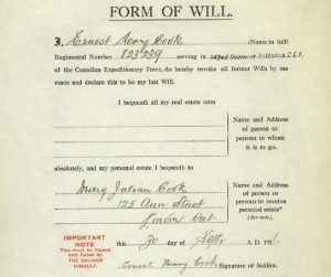 "A form filled in handwriting. The title of the form is ""Form of Will."""