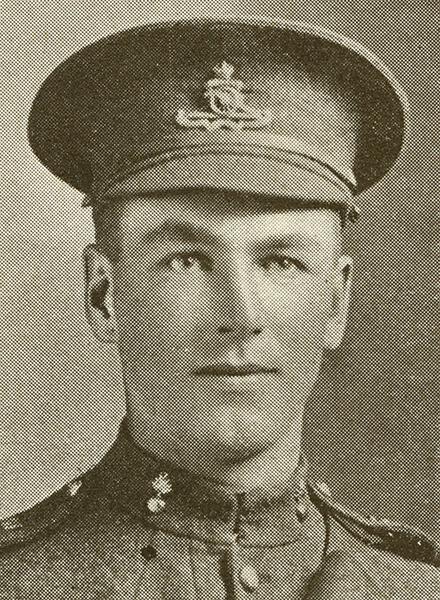 Portrait of a soldier wearing peak hat.