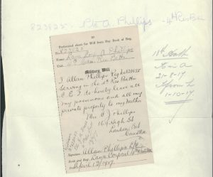 "Pte. Phillips' handwritten will 1917 LAC. ""Phillips, Allan (823825)."" Accessed March 30, 2017. Web."
