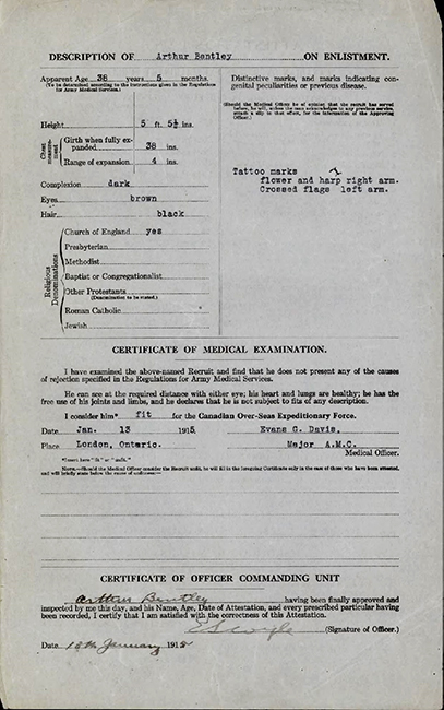 A document including the description of a soldier on enlistment and signatures at the bottom.