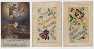 Three cards: a soldier in trenches dreaming of his sweetheart, writings at the bottom (on the right), a card made of embossed cardboard and embroidery (centre), a card made of embossed cardboard and embroidery (left).
