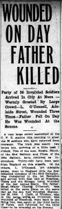 News paper article about a soldier wounded on the day his Father was killed. See Gallery page for transcript.
