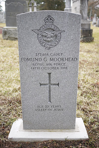 A grave stone with a cross and a crest showing a bird on a circle surrounded by a crown.