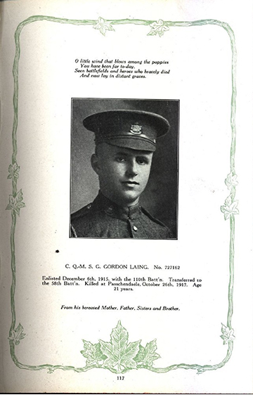 Photograph of a page in a book showing the portrait of a soldier wearing peak hat. There are writtings on top and at the bottom, the edges are decorated with a vine and maple leaves.