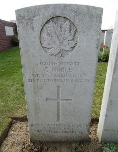 "Pte. Noble's Grave in France, VAC. ""George Noble,"" CVWM. Accessed March 30, 2017. Web."