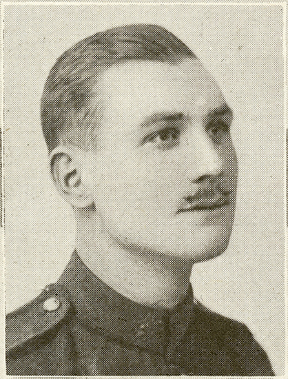 Portrait of a soldier with a moustache.
