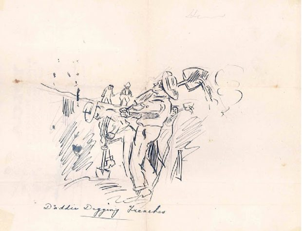 Drawing showing men digging. Handwritten inscription lower to the left Daddy Digging Trenches.