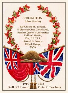 "A poster featuring a beaver superimposed to a union Jack flag on the right and an old Canada flag on the left. A wreath of maple leaves surges from behind the beaver surrounding and inscription for John Stanley Craighton. At the bottom the following inscription: ""1914-1918. Roll of Honour. Ontario Teachers."""