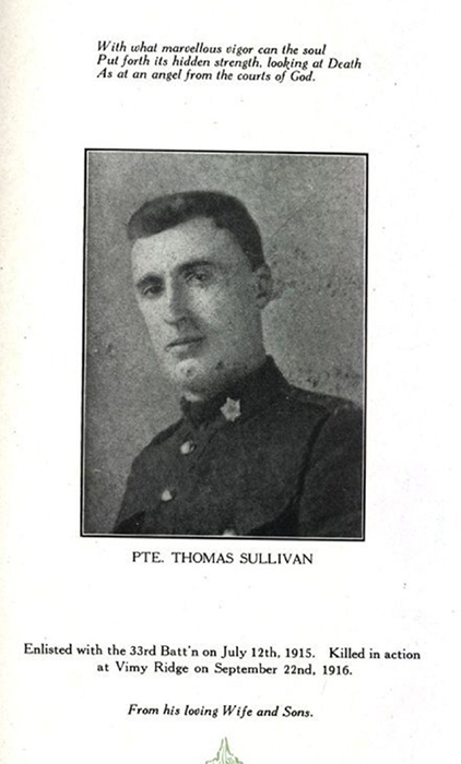 Photograph of a page in a book showing the portrait of a soldier. There are writings on top and at the bottom.
