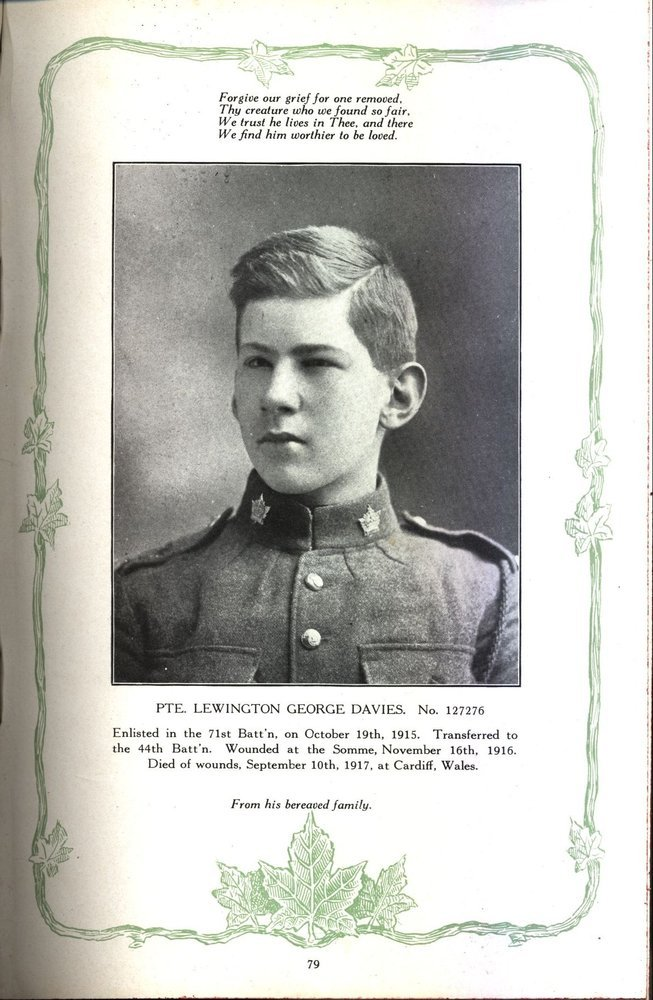 Photograph of a page in a book showing the portrait of a soldier. There are writings on top and at the bottom, the edges have ornaments, a vine and maple leaves.