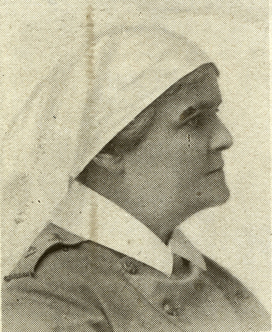 Portrait of a female wearing the nursing sister cape.